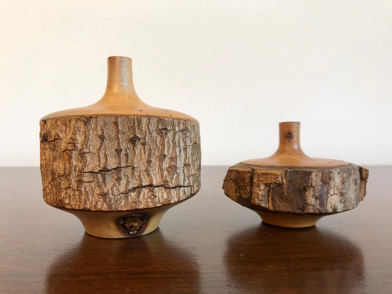 Turned Wood Weed Vases, 20th Century In Good Condition For Sale In Los Angeles, CA