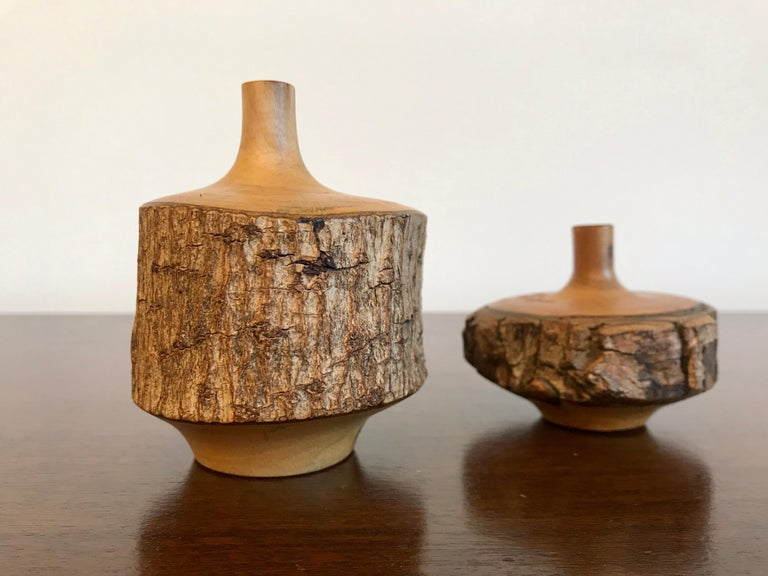 Turned Wood Weed Vases, 20th Century For Sale 1