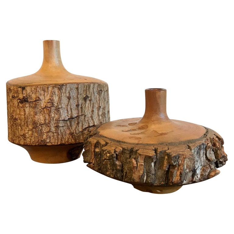 Turned Wood Weed Vases, 20th Century For Sale