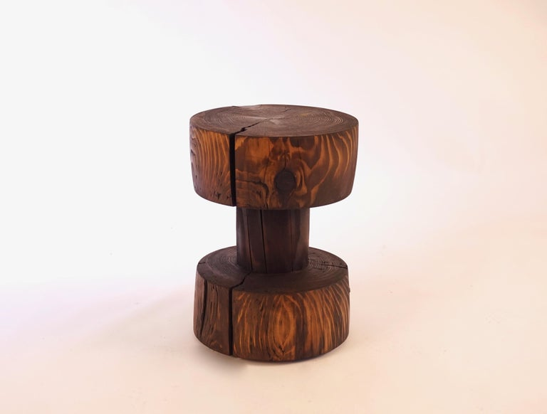 American Turned Wooden Pedestal Table #5 in Acid Washed Larch For Sale