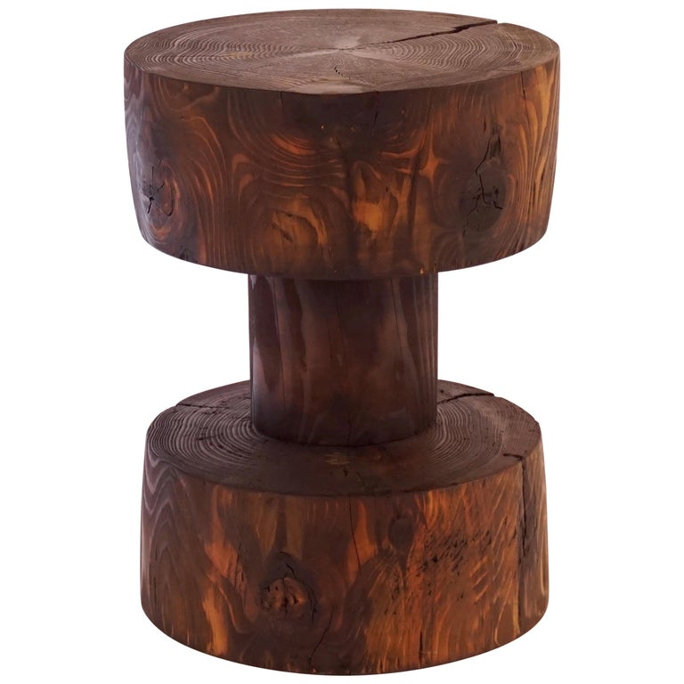 Turned Wooden Pedestal Table #5 in Acid Washed Larch For Sale