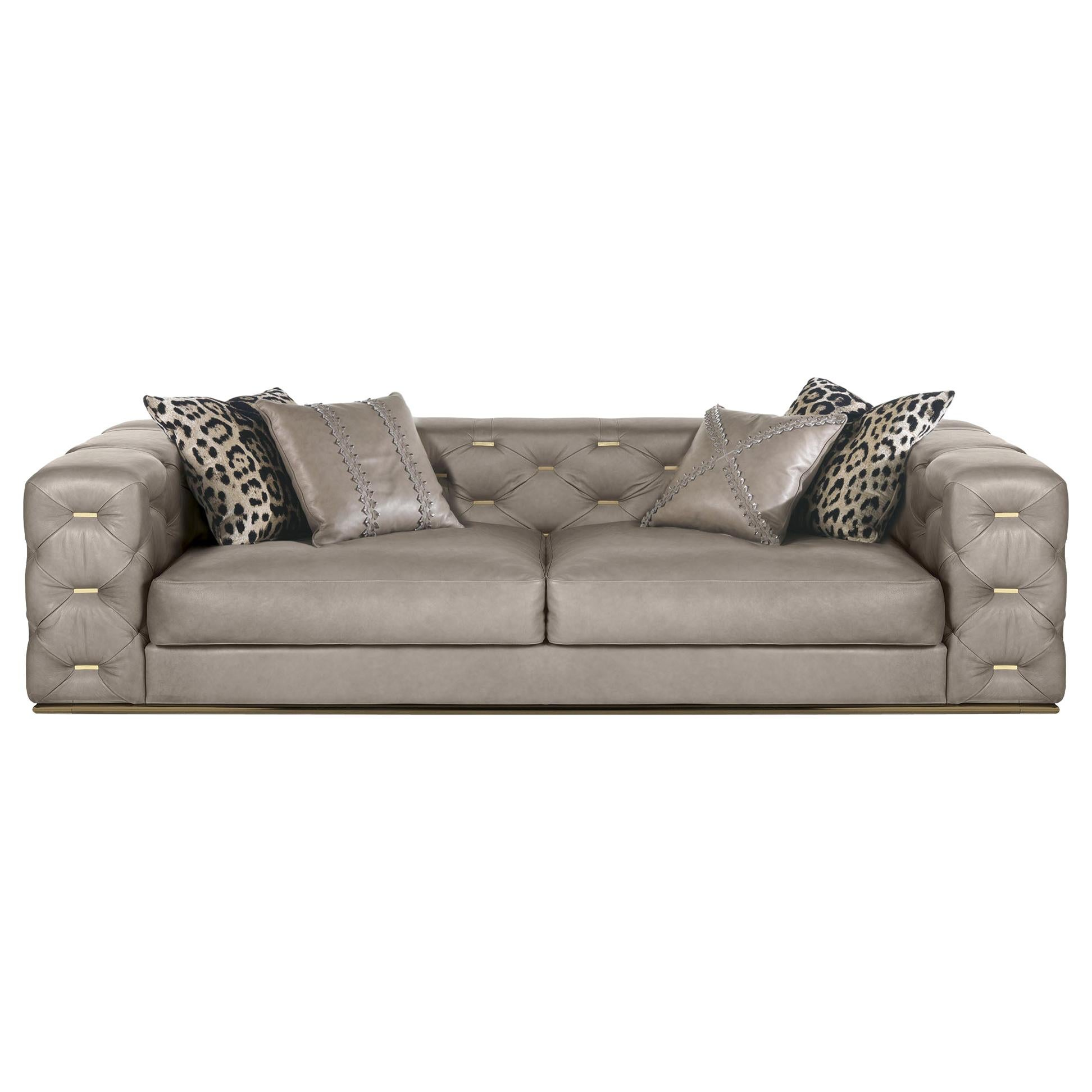 Turner 3-Seater Sofa in Leather by Roberto Cavalli Home Interiors