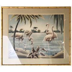 Turner Airbrush Flamingos Hawaiian in Carved Wood Bamboo Frame