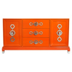 Turner Credenza in Orange Lacquer and Nickel