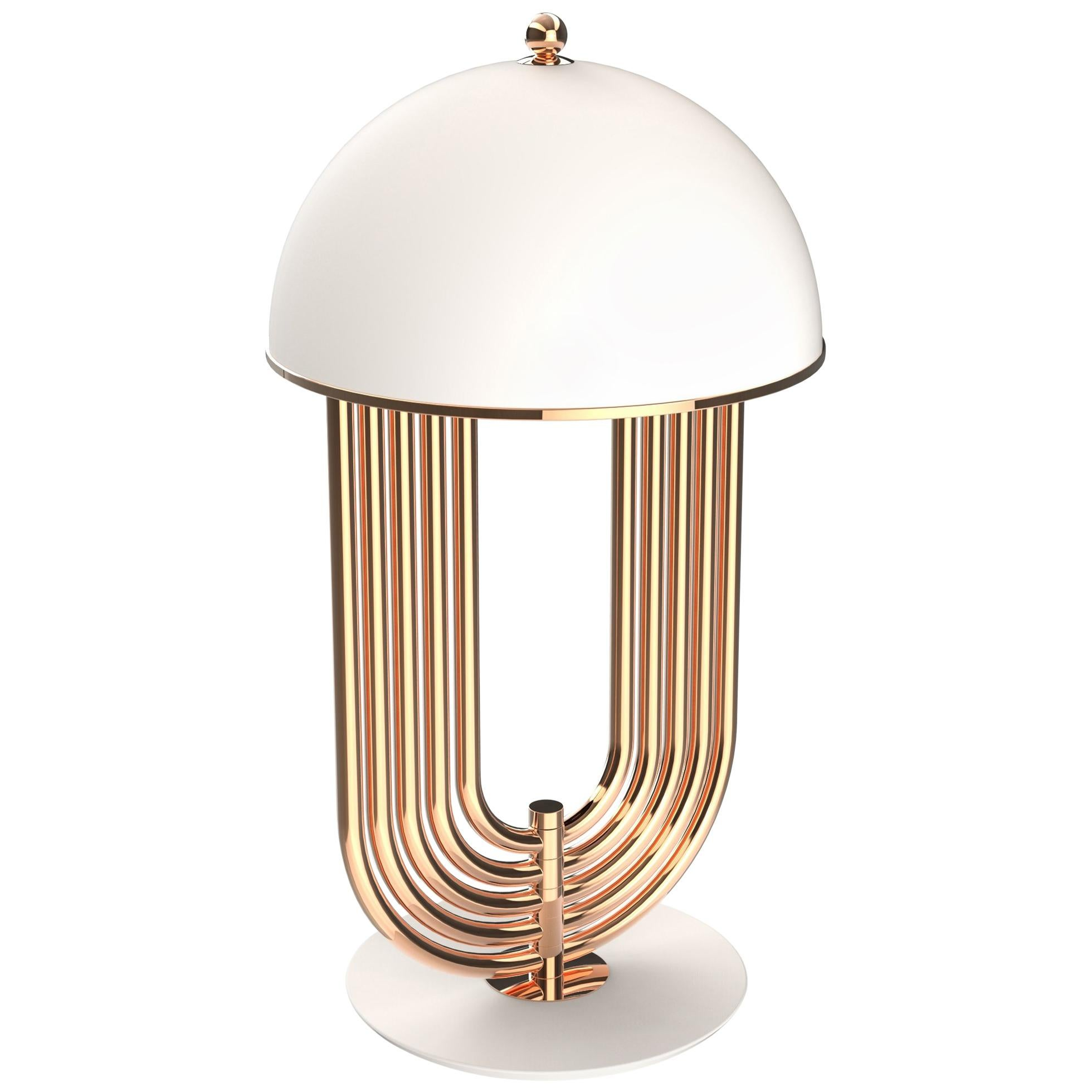 Turner Table Lamp in Brass with White Details