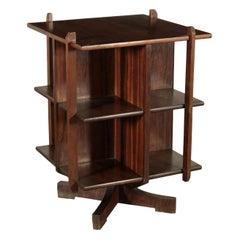 Turning Bookcase Veneered Wood, Italy, 1960s