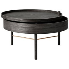 Turning Table by Theresa Arns, Coffee Table with Storage in Dark Oak and Brass