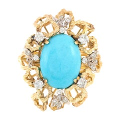 Turquoise 14 Karat with Diamonds and Open Squares