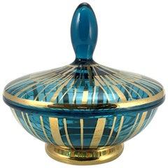 Turquise and Golden Glass Bonbonier, 1950s