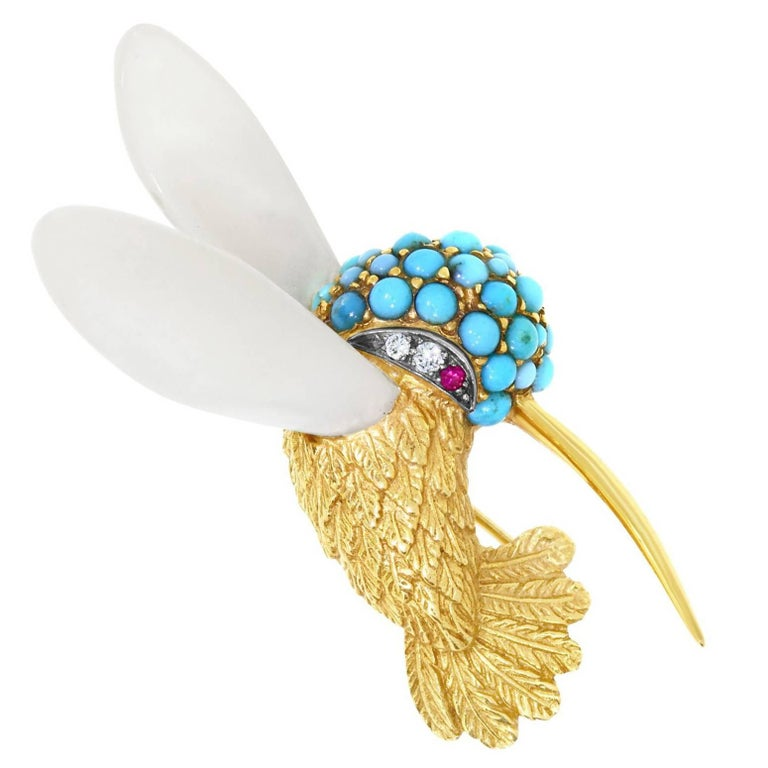 Turquoise, Mother-of-Pearl, Ruby and Diamond Set Hummingbird Brooch