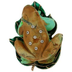 Turquoise 14 Karat Yellow Gold Diamonds Frog Brooch