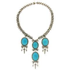 Turquoise 14 karat Yellow Gold Rose-Cut Diamonds Necklace