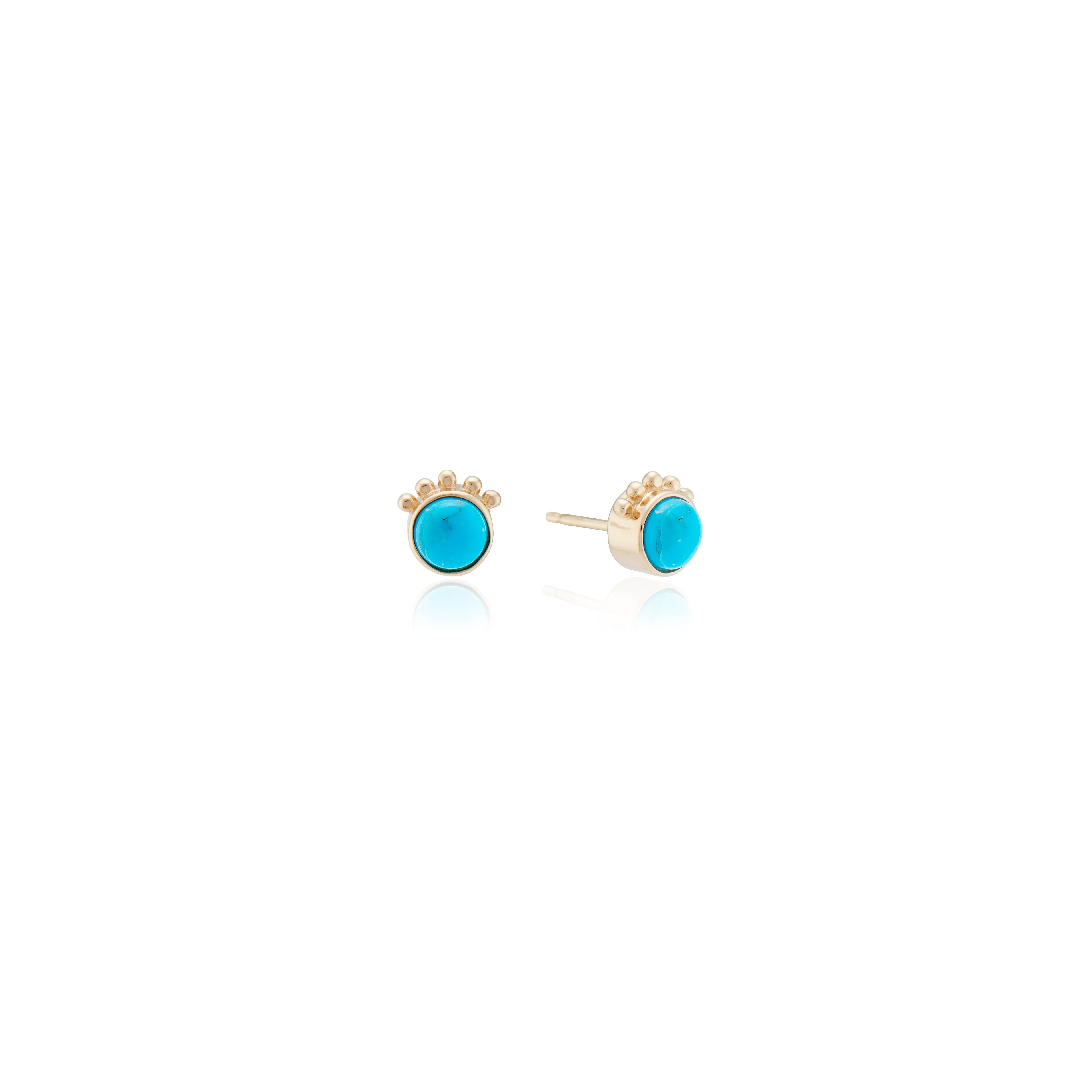 14k Yellow Or White Gold Blue Turquoise Ball All Sizes Stud Earrings 14 k