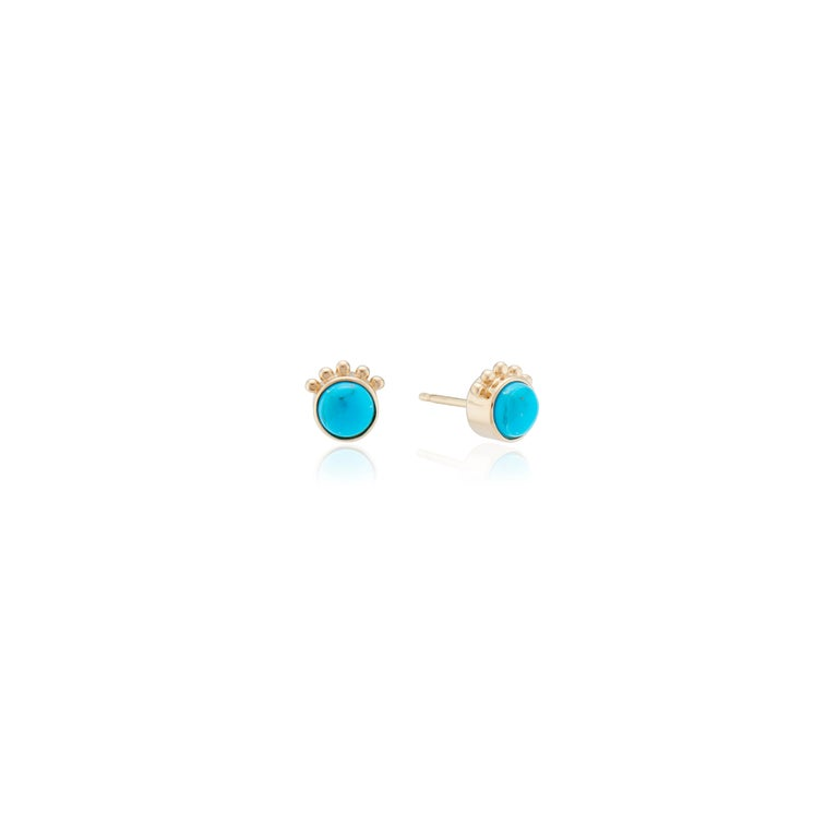 These Marlo Laz 14 Karat yellow gold turquoise squash blossom studs are inspired by the southwest and an ode to Native American Navajo jewelry.  From the Desert Rising collection, these earrings are available for special order in alternative