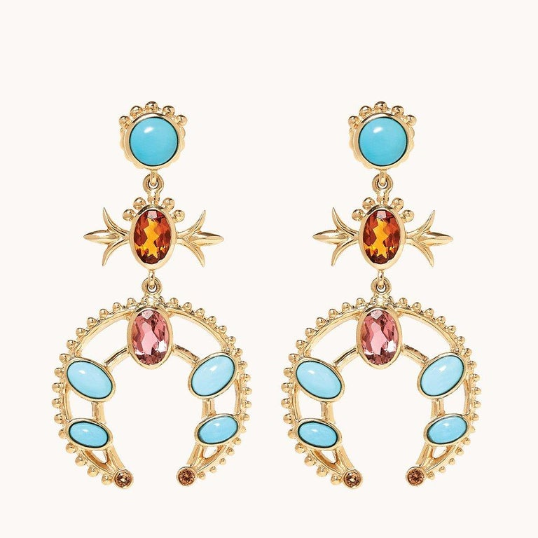 Marlo Laz Turquoise 14K Yellow Gold Southwestern Squash Blossom Stud Earrings In New Condition For Sale In New York, NY