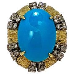 Turquoise 18 Karat Gold and Diamond Cocktail Ring