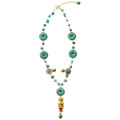 Turquoise 18 Karat Gold Mao Long Necklace