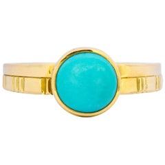 Turquoise 18 Karat Gold Stacking Ring