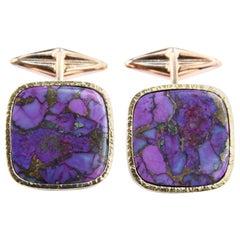 Turquoise 18 Karat Rose Gold Cufflinks