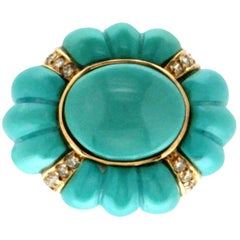 Turquoise 18 Karat White and Yellow Gold Diamonds Cocktail Ring