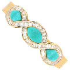 Turquoise 18 Karat Yellow Gold Baguette Diamonds Bangle Bracelet