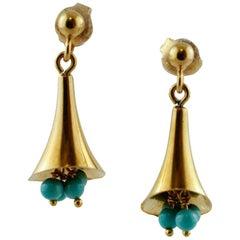 Turquoise, 18 Karat Yellow Gold Dangle Earrings