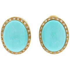 Turquoise 18 Karat Yellow Gold Diamonds Clip-On Earrings