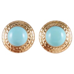 Turquoise 18 Karat Yellow Gold Ear Clips By Leverington