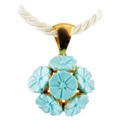 Turquoise, 18 Karat Yellow Gold Pendant Necklace