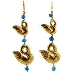 Turquoise, 18 Karat Yellow Gold Swan-Shaped Dangle Earrings