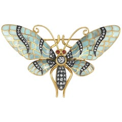 Turquoise 18 Karat Yellow Gold with 0.71 Carat Diamonds Butterfly Brooch