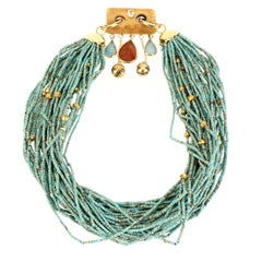 Turquoise 18 Karat Gold Ruby Kenzite Necklace