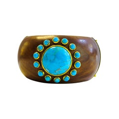 Turquoise 18 Karat Gold Plated on Silver and Wood Bangle