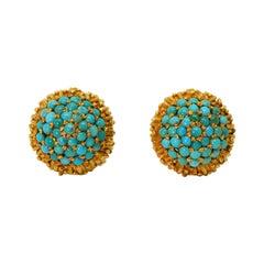 Turquoise 18k Yellow Gold Stud Earrings