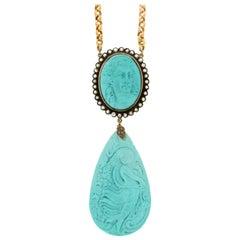 Turquoise 9 Karat Yellow Gold, Old Cut Diamonds Pendant Necklace