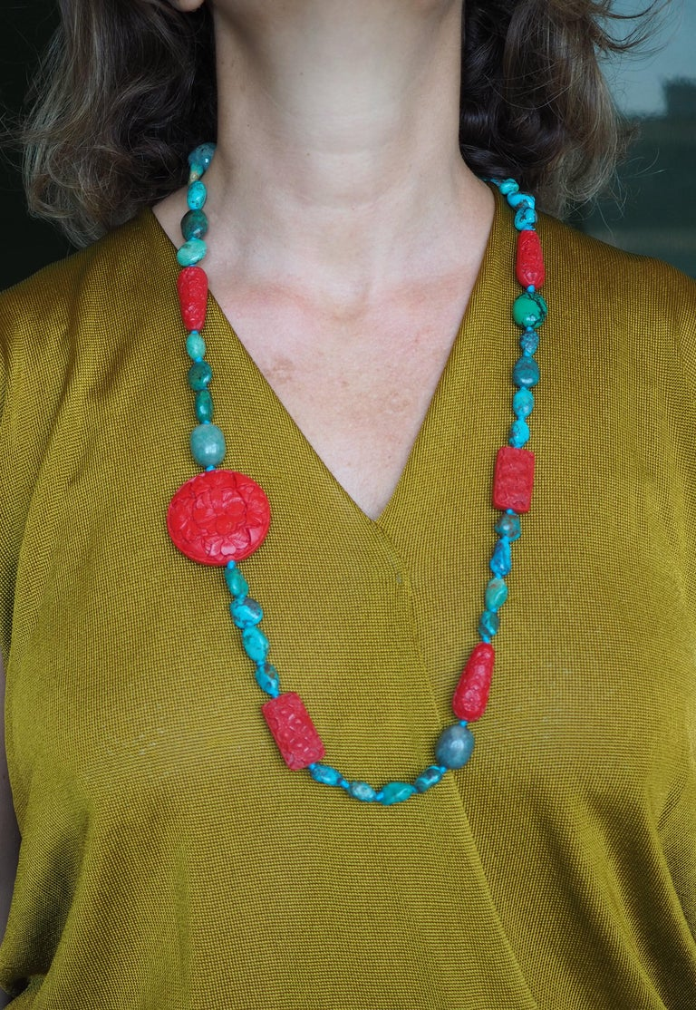 Women's or Men's Turquoise Amazonite Lacquer Long Necklace For Sale
