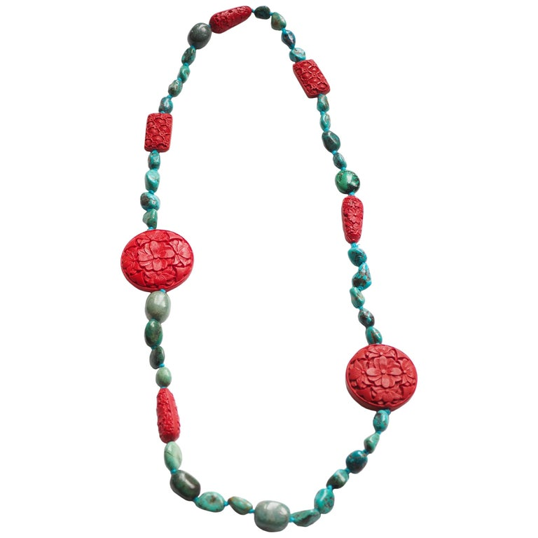 Turquoise Amazonite Lacquer Long Necklace For Sale