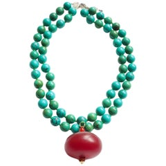 Turquoise Amber 18 Karat Gold Necklace
