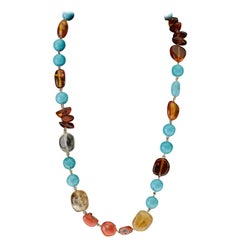 Turquoise Amber Citrine Coral Long Vermeille Necklace