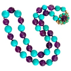 Turquoise and Amethyst Beaded Necklace with 14 Karat Yellow Gold Clasp