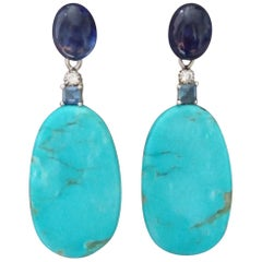 Turquoise and Blue Sapphire Gold Blue Sapphire Diamonds Flat Drop Earrings