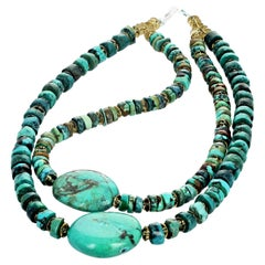 Turquoise and Citrine Gemstone Handmade Necklace