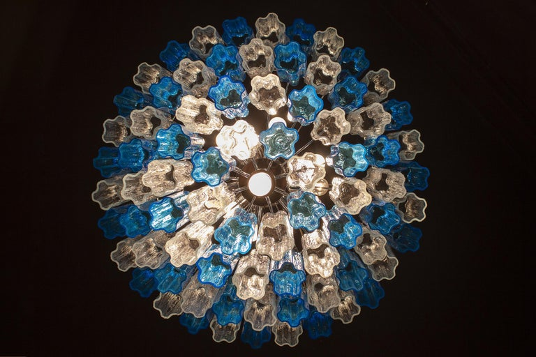 Turquoise and Clear Murano Glass Tronchi Chandelier Ceiling Light For Sale 3
