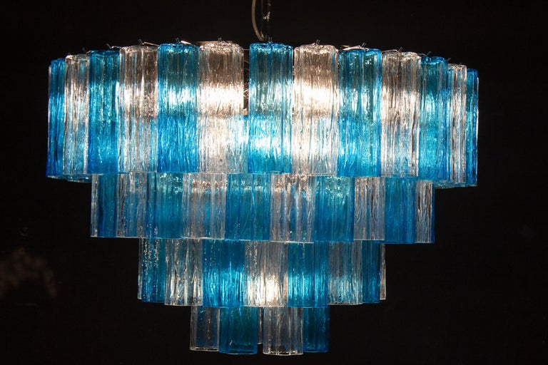 Turquoise and Clear Murano Glass Tronchi Chandelier Ceiling Light For Sale 4