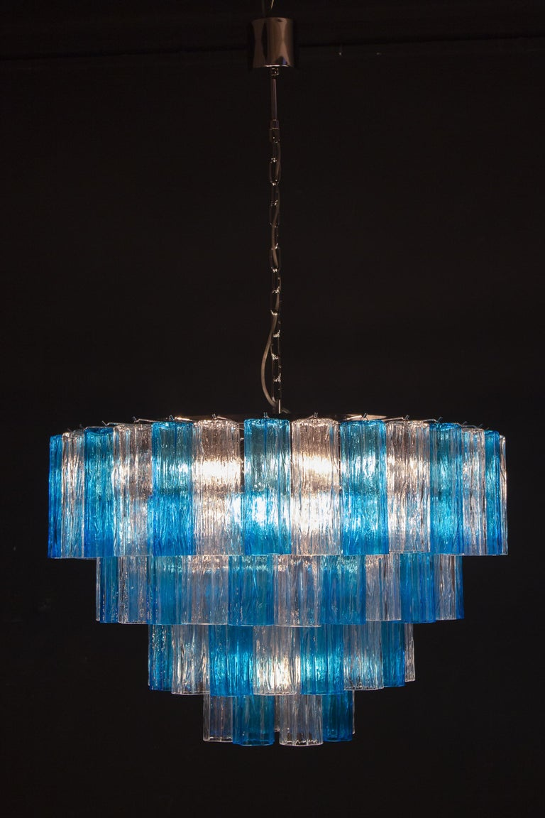 Turquoise and Clear Murano Glass Tronchi Chandelier Ceiling Light For Sale 5