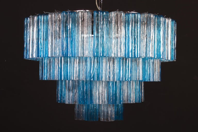 Mid-Century Modern Turquoise and Clear Murano Glass Tronchi Chandelier Ceiling Light For Sale