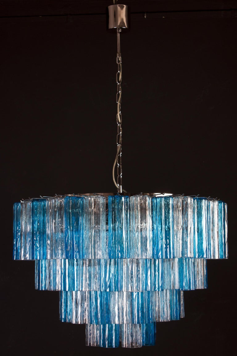 Italian Turquoise and Clear Murano Glass Tronchi Chandelier Ceiling Light For Sale
