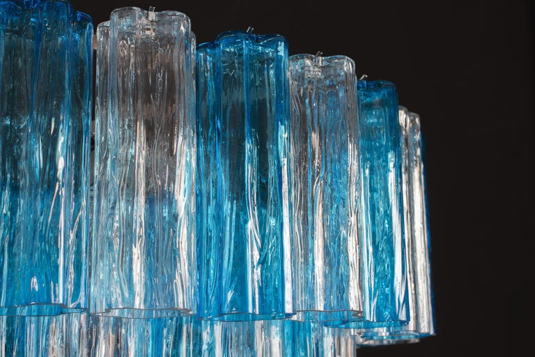 Turquoise and Clear Murano Glass Tronchi Chandelier Ceiling Light In New Condition For Sale In Rome, IT