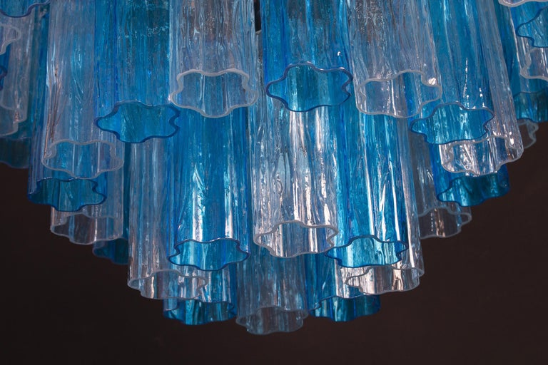 Turquoise and Clear Murano Glass Tronchi Chandelier Ceiling Light For Sale 1