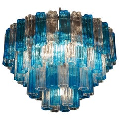 Turquoise and Clear Murano Glass Tronchi Chandelier Ceiling Light